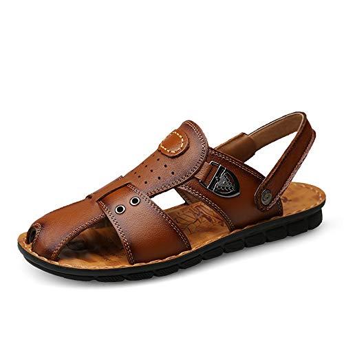 Marron 42 EU Sandales Hommes Sandales pour Hommes Chaussures Pantoufles à la Mode Chaussures en Cuir Ox Talon élastique à Deux Fins Metaldecor Confortable