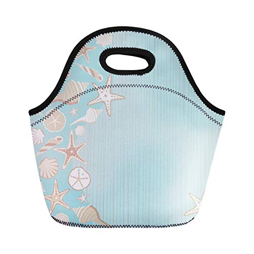Semtomn Lunch Tote Bag Seashell Beach Party Variety of Shells on Aqua Teal Reusable Neoprene Insulated Thermal Outdoor Picnic Lunchbox for Men Women