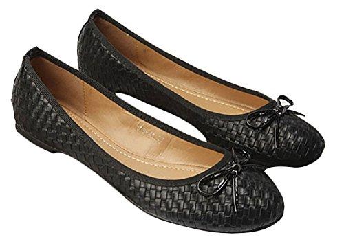 Plaid&Plain Womens Woven Bow Knot Round Toe Slip On Low Cut Ballet Flats Shoes Black jLT8FV