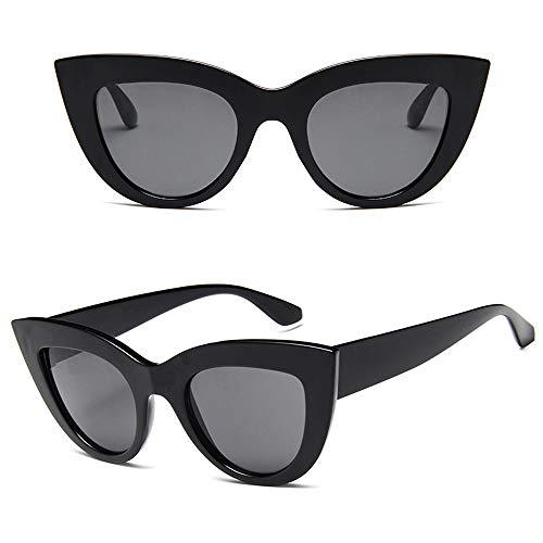 (Retro Cateye Sunglasses for Women Fashion Clout Goggles Mirror UV400 Protection Cat Eye Sun Glasses (Bright Black Frame/Black Lens))