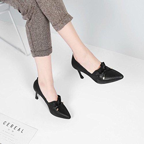 Frauen High Heels Spring Summer Spitzband Verziert Leder Schuhe Pumps Pump Stiletto Pumps Black