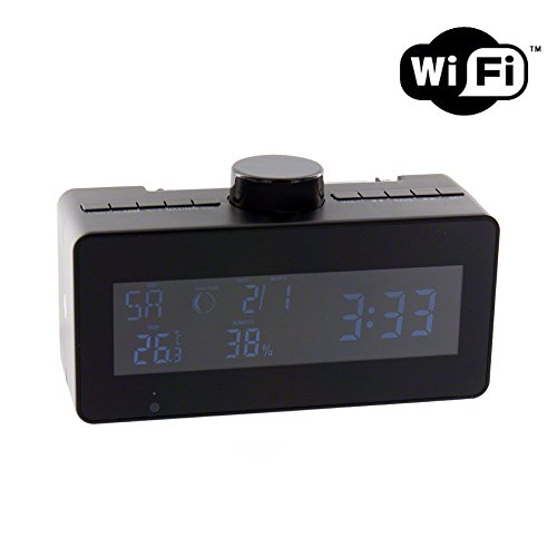SpygearGadgets 1080P HD WiFi Streaming Clock Radio Hidden Spy Nanny Camera with Rotating Camera Lens - Stream Live HD Video to iPhone or Android (Spy Common Card)