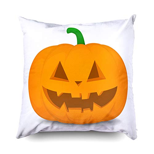 TOMWISH Hidden Zippered Pillowcase Halloween Pumpkin an Evil Expression his face 18X18Inch,Decorative Throw Custom Cotton Pillow Case Cushion Cover for Home Sofas,bedrooms,Offices,and More