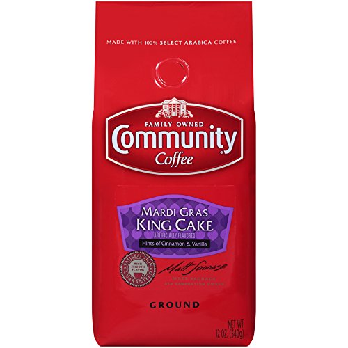 Community Coffee Mardi Gras King Cake Flavored Medium Roast Premium Ground 12 Oz Bag, Medium Full Body Hints of Cinnamon and Vanilla, 100% Select Arabica Coffee Beans