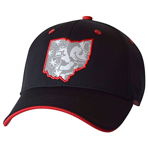 J America NCAA Ohio State Buckeyes Adult Men Stop & Reflect Structured Adjustable Cap, One Size, Black/Red (Ohio Bill Flat Hat State Buckeyes)