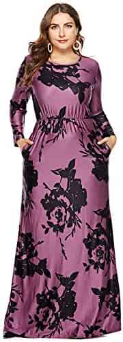 7d0346d35fbe MERRYA Women Long Sleeve Casual Plus Size Floral Long Maxi Dress with  Pockets