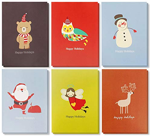 Assorted Holiday Christmas Greeting Cards - Festive Classic Character Designs: Santa, Snowman, Reindeer - Multicolor - 48 Pack with Envelopes - 4 x 6 Inches