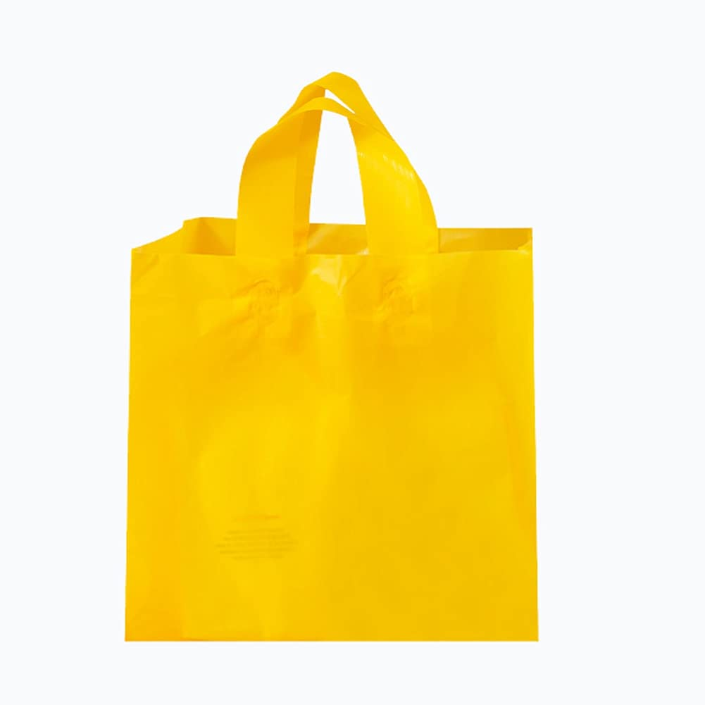 50 take-Out Bags, Biodegradable Plastic Bags, Food Bags, Convenience Bags, Catering, supermarkets, Hand-held Shopping Bags (Yellow, 9.4