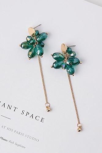 Generic Korean_style_of hand Versatile_metal_crystal_ earrings Earring eardrop simple_grape_string_length_of water_droplets_from stream earrings Earring eardrop ear fall_ girl -
