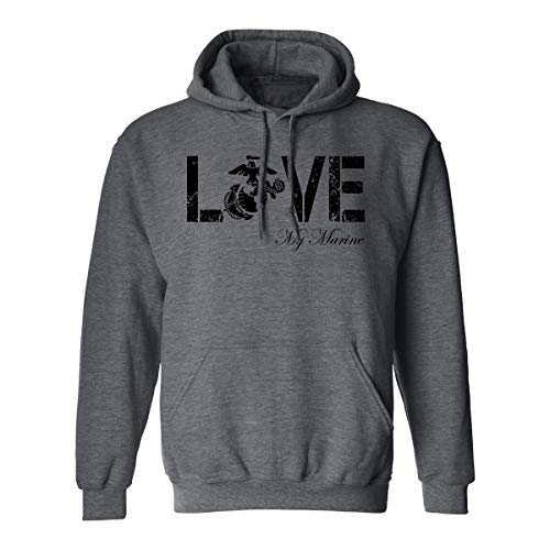 Love My Marine Hooded Sweatshirt in Dark Heather - X-Large