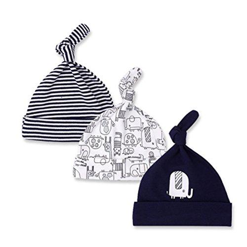 CuteOn 3 PCS Newborn Cotton Sleep Beanie Hat Adjustable Knot Hat for Unisex Baby 01-Elephant