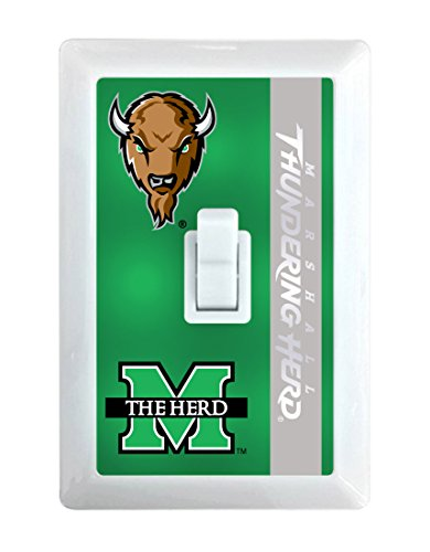 NCAA Marshall Thundering Herd LED Illuminated Light Switch Cover-Marshall University Light Switch Night Light (Marshall Thundering Herd Lamp)