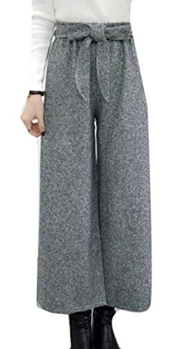 CRYYU Women's Belted Wide Leg Ankle Wool Plaid Straight Casual Pants Light Grey US ()