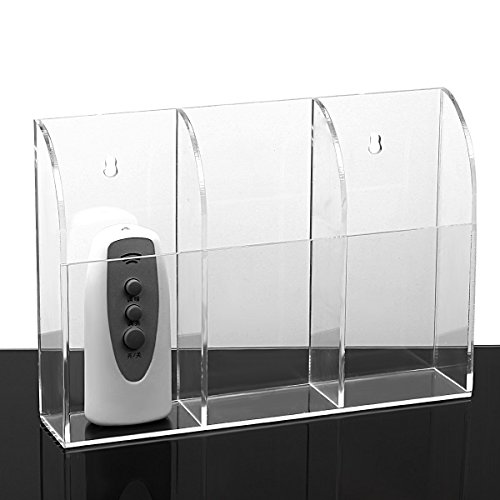Price comparison product image MyJell Acrylic TV Remote Control Holder Wall Mount Storage Box Media Organizer Rack