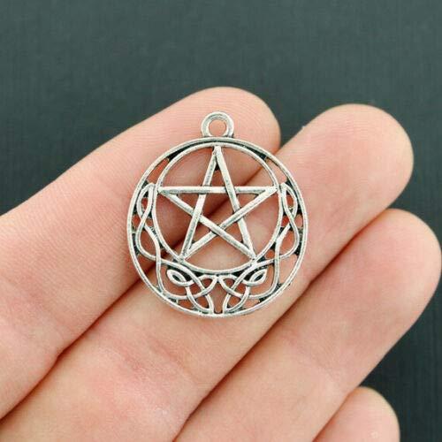 5 Celtic Knot Pentagram Charms Antique Silver Tone SC5681 - for Bracelet, Pendant, Jewelry Making]()