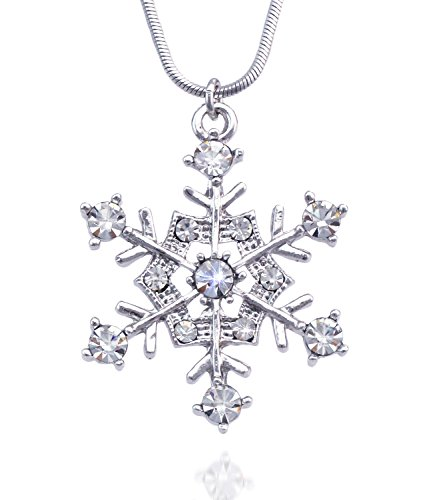 cocojewelry Snowflake Pendant Necklace Bridesmaid Christmas Holiday Prom