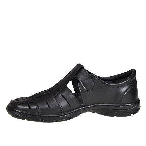 Lukpol Herren Bequeme Sandalen Schuhe mit der Orthopadischen Einlage Aus Echtem Buffelleder Hausschuhe Modell 1062 Schwarz