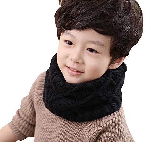 UPSTORE 1PCS Soft Unisex Kids Children Thicken Knitted Winter Warm Scarf Muffler Infant Boys Girls Collar Knit Infinity Circle Loop Scarf Neck Warmer Scarves Neckerchief for 2-10 Years Old (Black)