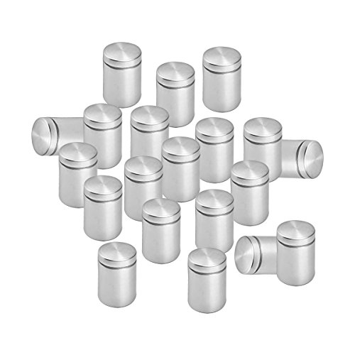 Lantee 20 Pcs Silver Tone Stainless Steel 19 x 30mm Standoff Hardware Mounts Screws for Glass - Glass Surface Mount Screws