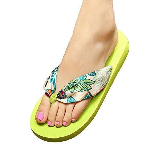 Angelliu New Women Summer Bohemian Stain Beach Travel T-Strap Flip Flops Slippers Flats Green Nu5FrN