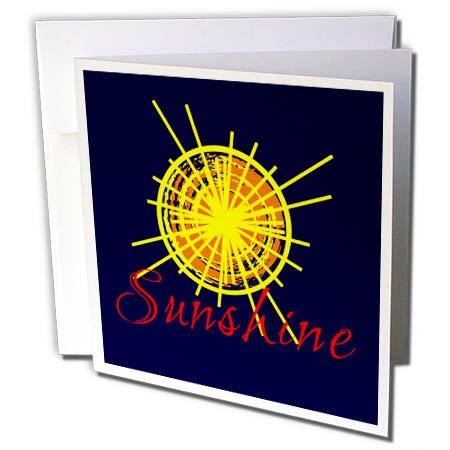 3dRose Alexis Design - Positive - Yellow and orange sun, orange text Sunshine, dark blue background - 1 Greeting Card with envelope (gc_273807_5)