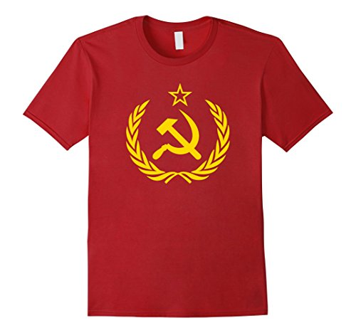 Mens Hammer and Sickle Star CCCP Soviet Union Red T-Shirt Medium Cranberry (Soviet Star Ussr T-shirt)