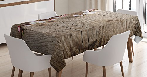 Ambesonne Rustic Home Decor Tablecloth, Romantic Spring Cherry Blossom Branch Over Old Table Love Valentines, Dining Room Kitchen Rectangular Table Cover, 60W X 84L inches, Brown White -