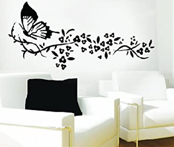 WallStickersUSA Wall Sticker Decal, Butterfly And Tribal Flowers, Large Part 45