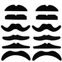 Fake Mustaches - Pack of 12 – Dress up for your Movember Events - Novelty and Toy, - For Halloween, Parties, Kids, Gift, Favors, Adults, Fun, Birthday, Games, Home -By Kidsco
