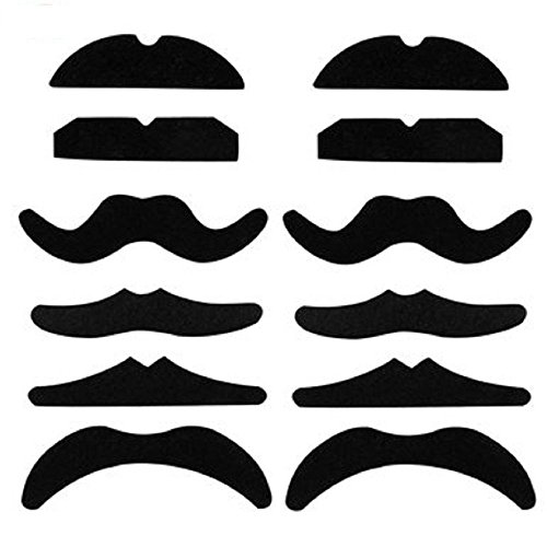 Pack of 12 Fake Mustaches, Novelty and Toy, - For Halloween, Parties, Kids, Gift, Favors, Adults, Fun, Birthday, Games, Home, Movember. (Halloween Games Adults)