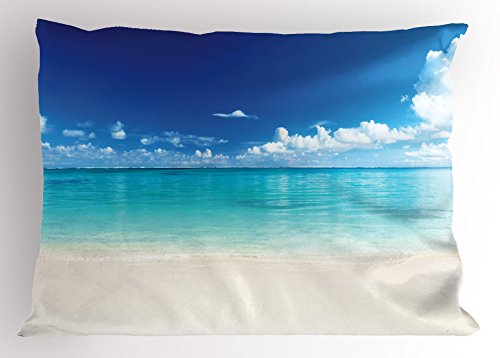 Ambesonne Ocean Pillow Sham, Natural Coastal Sandy Beach and Carribean Seashore Heavenly Paradise View Image, Decorative Standard King Size Printed Pillowcase, 36 X 20 inches, Blue Aqua White