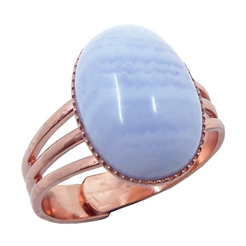 Ring Agate Stone (Agate Blue Lace Ring 4-10 Boutique Adjustable Metal Cool Blue Banded Gemstone Oval Crystal B02 (Copper 14x10))