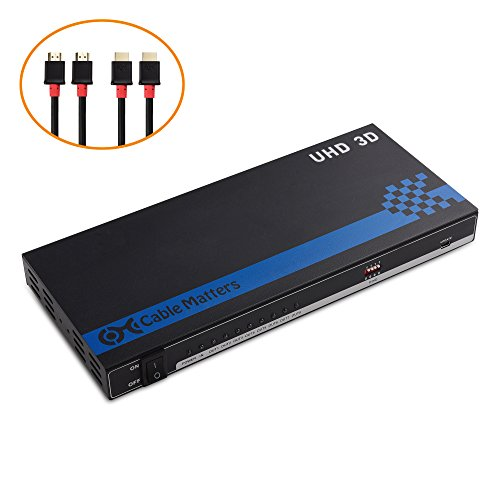 Cable Matters 8 Port 4K HDMI Splitter 4K Resolution Ready with Twin-Pack 6 Feet HDMI Cable