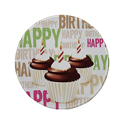 Non-Slip Rubber Round Mouse Pad,Birthday Decorations,Grunge Happy Birthday Pattern with Three Chocolate Cupcakes Candles,Multicolor,11.8