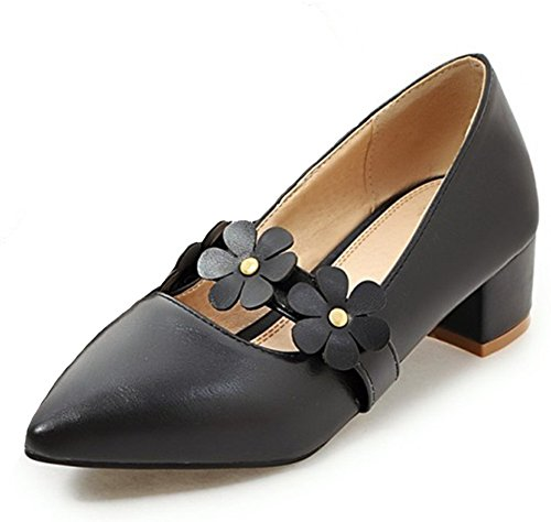Easemax Womens Sweet Flowers Straps Pointed Toe Low Top Slip On Mid Chunky Heel Pumps Shoes Black yZnFl
