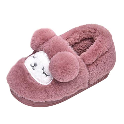 Toddler Baby Kids Girls Boys Cartoon Dog Winter Home Faux Fur Casual Slippers Keep Warm Loafers Non-Slip Indoors Antiskid Soft Comfy Bedroom Floor Shoes