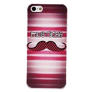 JOE Black Round Dots Moustache Pattern Transparent Frame Hard Case for iPhone 5/5S