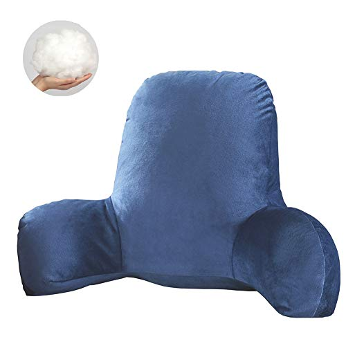 Hrtc T-Shape Reading Luxury Support Bed Reading Back Rest Lumbar Cushion Pillows Bed Rest Lounger Sofa Chair Back Supports and The Design of Support not Prevent Deformation (Blue)