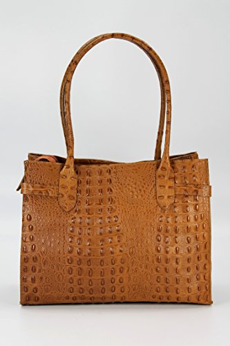 Belli® Set In Pelle 3in1 Cognac Marrone Croco - Handbag + Cosm. Borsa + Panno