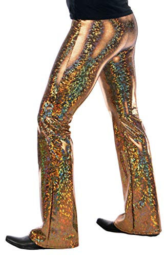 Holographic Disco Men's Flare Pants: USA Made Flared Bell Bottom Pants (Small, Gold) -