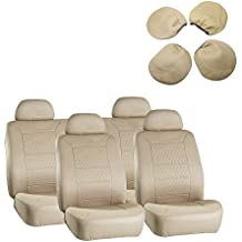 Seat Cover CCIYU Universal Car Seat Cushion w/Headrest - 100% Breathable Washable Automotive Seat Covers Replacement for Most Cars Trucks Vans (Beige)