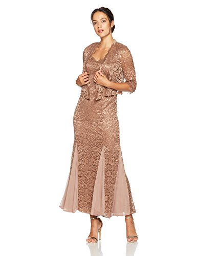 R&M Richards Women's Petite Size 2 Piece Long Metalic Lace Jacket Dress, Cocoa, 14P by R&M Richards