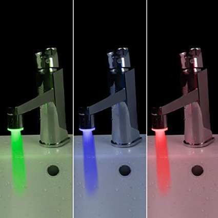 Lowest Prices! Docooler Mini Glow LED Water Stream Faucet Tap Temperature Sensor 3 Color