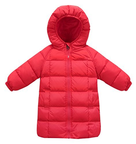 Happy Cherry Toddler Girls Down Jacket Winter Warm Hooded Puffer Coats Lightweight Long Outfits 1-2T Red