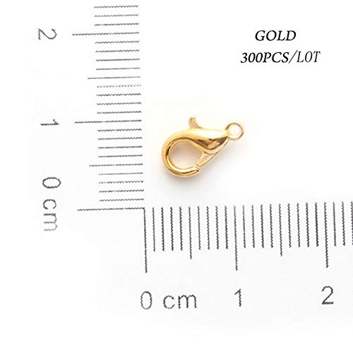 Laliva 300pcs Lobster Clasps 10/12/14/16MM Alloy Rhodium/Gold/Silver Lobster Clasps Hooks for Bracelet Chain DIY Jewelry Findings - (Color: Gold, Size: 12MM)
