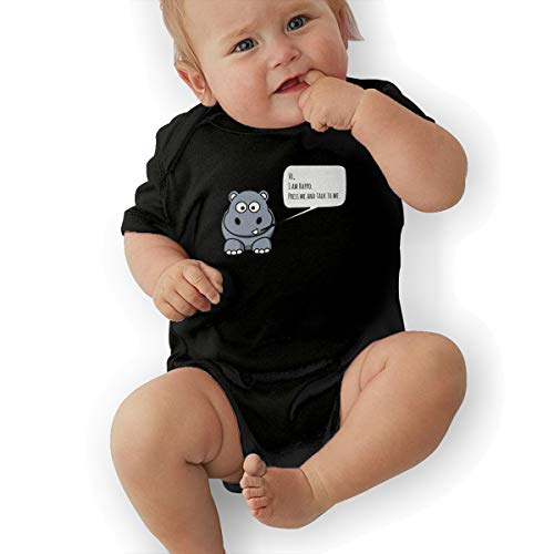 JUE&YEE Happo The Happiness Hippopotamus Boys' Suitable Cotton Jumpsuit Black from JUE&YEE