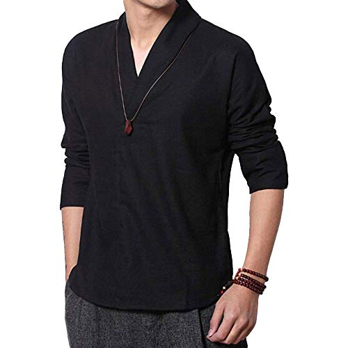 (ZooBoo Chinese Clothing Tang Shirt - V-Neck Short Sleeve T-Shirt Suits Outfit Uniform Cloth for Men - Cotton and Hemp (Black, XL))
