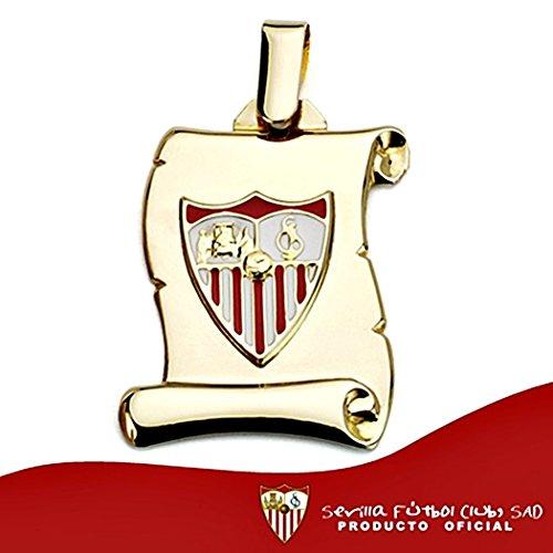 Pendentif Sevilla FC parchemin bouclier 18k de la loi de 26mm en or. [8542GR] - personnalisable - ENREGISTREMENT inclus dans le prix