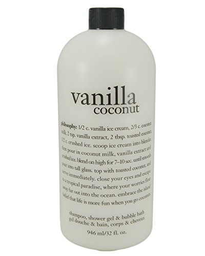 Philosophy Vanilla Coconut Shampoo Shower Gel & Bubble Bath - 32 Oz Sodium Chloride Moisturizing Body Wash