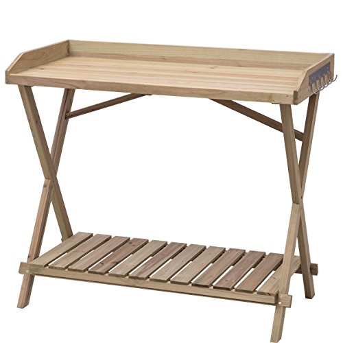 Table Wood Potting Bench Console Serving Workstation Shelf Display Patio Outdoor by White Bear & Brown Rabbit